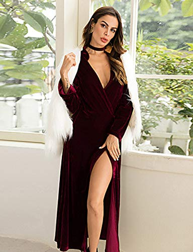 Alta Ancho JIZHI Maxi Festivos En Camiseta M V Vestido Profunda Escote Wine Cintura Mujer Corte Otoño Verano tTYnBRqxwY
