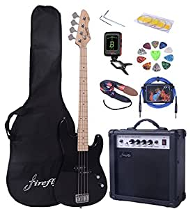 full size black electric bass guitar pack with 15 w power amp case strap package. Black Bedroom Furniture Sets. Home Design Ideas