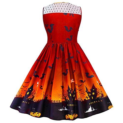 dextrad Beautiful Women's Vintage Halloween Print Lace Panel Dress Retro Rockabilly A Line Dresses OrangeMedium]()
