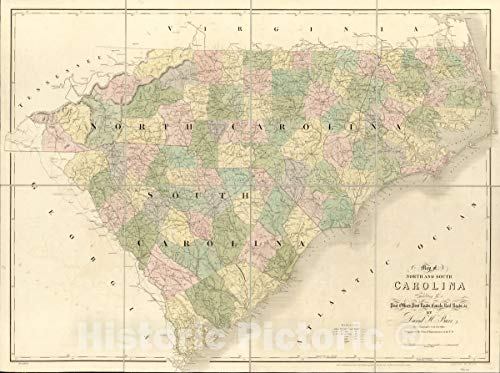Post Office Antique - Historic 1839 Map | Map of North and South Carolina exhibiting The Post Offices Post Roads, canals, Rail Roads by David H. Burr; (Late Topographer to The Post Office.) 59in x 44in