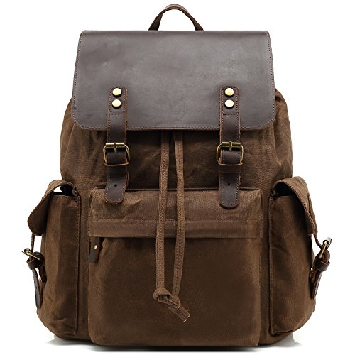 Kenox Mens Genuine Leather Laptop Backpack Waxed Canvas Rusksack Multi Pockets College School Bag Travel Daypack