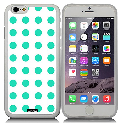 Price comparison product image CocoZ New Apple iPhone 6 s 4.7-inch Case Beautiful mint green Polka Dot pattern TPU Material Case (Transparent TPU & Polka Dot 8)