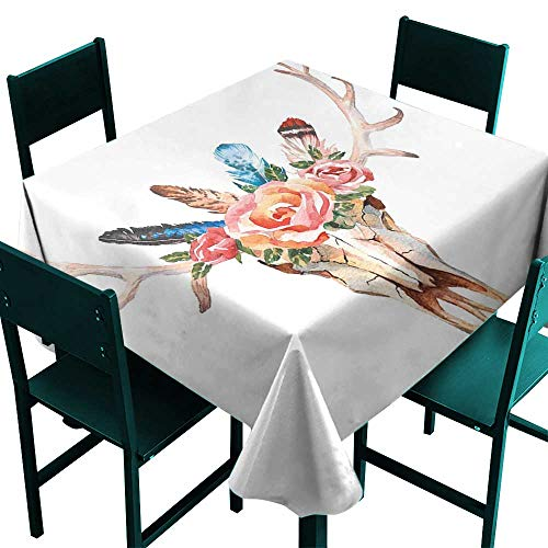 Set Decorated Hand Chess - Warm Family Antler Decor Queen Size Wrinkle Resistant tableclothBohemian Deer Head Skull Decorated with Roses and Feathers Hand Drawn Art for Kitchen Dinning Tabletop Decoration W54 x L54