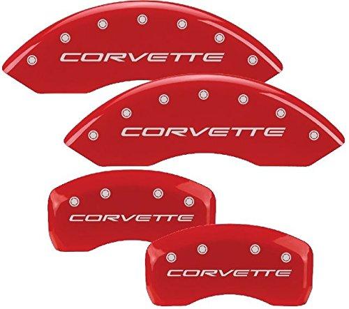 MGP Chevy Corvette 97015 Corvette Logo Red Caliper Cover 4 pc P/N 13007SCV5RD ()
