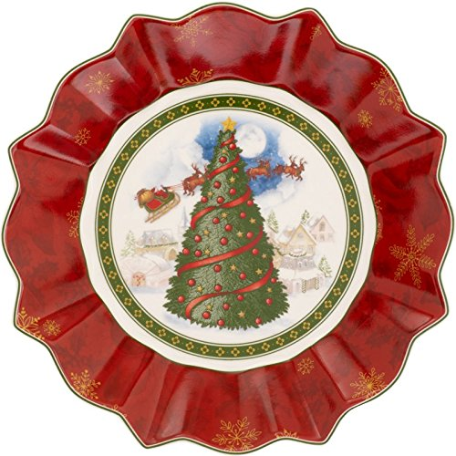 Toy's Fantasy Bunte Teller Christmas Tree Serving Bowl by Villeroy & Boch - Perfect Gift or for Entertaining - Premium Porcelain - Dishwasher and Microwave Safe - Gift Boxed - 10 Inches
