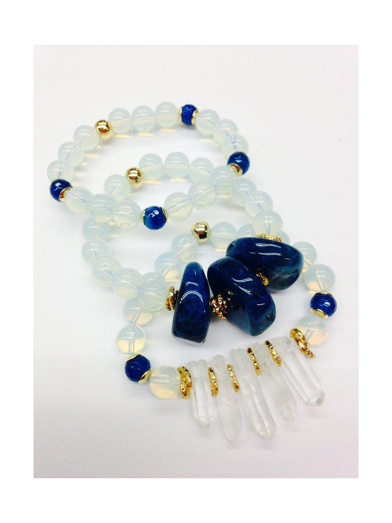 Set of 3 Handmade Bracelets - Opal, Blue Agate & Rare White Quartz Natural Stones & Goldfilled Beads by Formula Moda