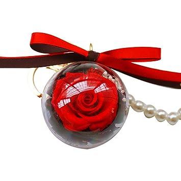 DierCosy Bola de la Flor Llavero de la Flor eterna Colgante Flor eterna Baile de la Rosa Elegante Llave Clave Bolso Creativo Decoraciones Colgantes en ...