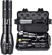 PHIXTON Tactical LED Flashlight, Powerful Rechargeable 1200lm L2 Handheld Zoomable Police Flash Torch Light, 5