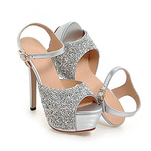 Delle Di Un Vernice I Modo Argento Peep Sandali Sandali Di Donne Vimisaoi Tacco In Fibbia Estivi Pelle caviglia Toe Alto wUqfZU