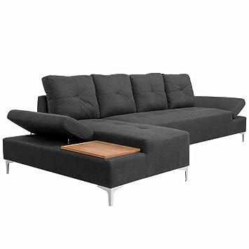 Luckyfu questo sofá a l Tela Gris Oscuro con Bandeja de ...
