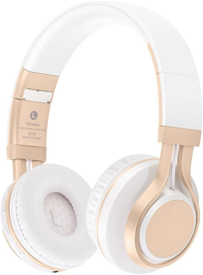 SUAVER Auriculares Diadema Auriculares Bluetooth Inalámbricos,Estéreo Cascos Bluetooth Auriculares Plegables,TF Card Radio FM con Micrófono para iPhone PC Andriod (Blanco/Oro)