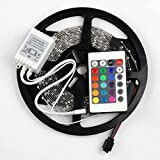 SUPERNIGHT (TM) 5M/16.4 Ft SMD 3528 RGB 300 LED Color Changing Kit with Flexible Strip Light+24 Key IR Remote Control+ Power Supply