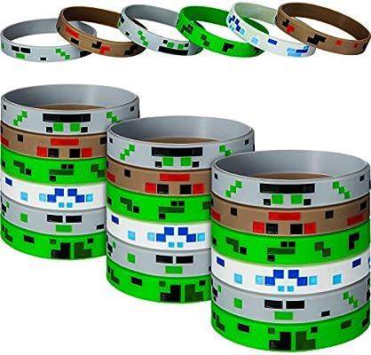 GLOW IN THE DARK 12 pk MINING PIXELATED Bracelets Kids Birthday Party Favors