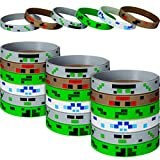 36 Pieces Pixelated Miner Crafting Style Character Wristband Bracelets, Pixelated Theme Bracelet Designs for Mining Themed or Any Crafting Style Birthday Party Supplies