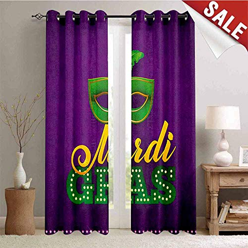 Hengshu Mardi Gras Window Curtain Fabric Green Mask with Colorful Feathers on Purple Backdrop Styled Calligraphy Drapes for Living Room W72 x L84 Inch Purple Green -