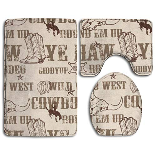 - Cowboy Culture Bathroom Rug Shag - 3 Pack Memory Foam Non Skid Bathroom Rug/Large Contour Mat/Lid Cover Fast Dry Absorbent Toilet Floor Rug/Quick Dry Bath Rugs