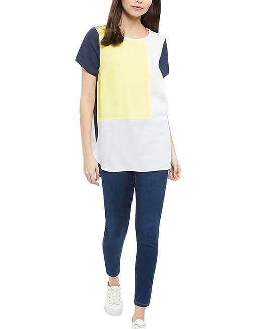 Qitun Mujer Gasa Camiseta Tamaño Grande Cosido Manga Corta Tops Blusa Bonitas Blusas Top Para Señoras Blusones Casual Camisetas: Amazon.es: Ropa y ...