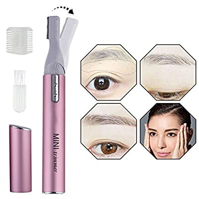 Women Facial Hair Trimmer, Electric Eyebrow Shaper Cordless Lady Shaver Precision Face Hair Remover Eyebrow Razor Shaver, Personal Bikini Legs Body Hair Groomer Removal with Cleaning Brush Shaper