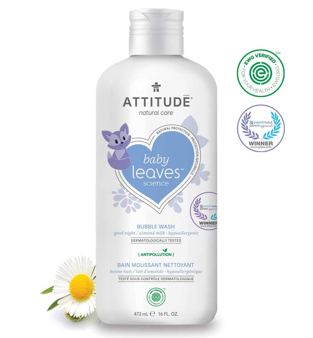 Attitude Baby Leaves Science Natural Bubble Wash Good Night Almond Milk 16 fl oz 473 ml by Baby Leaves Science