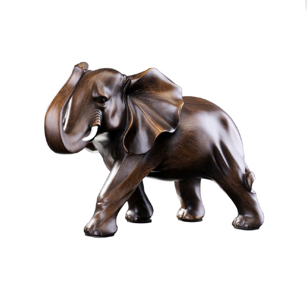 Feng Shui Elephant Statue Rosewood Color Wealth Lucky Figurine Office Home Decor Sculpture Gift by RUIHAI