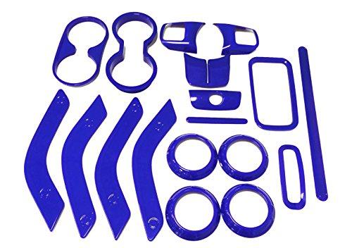 E-cowlboy 18 PCS Full Set Interior Decoration Trim Kit,Interior Door Handle Cover Trim,Air Conditioning Vent Cover Trim, Copilot Handle Cover Trim, for Jeep Wrangler JK JKU 2011-2018 4-Door(Blue)