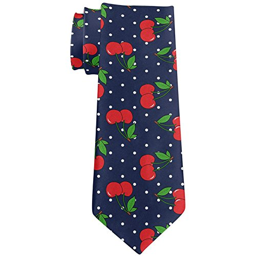 Fruit Cherry Cherries Repeat Pattern All Over Neck Tie Navy Standard One Size ()