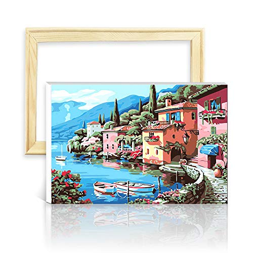 decalmile Paint by Number Kits DIY Oil Painting Works for Adults Kids Beginner Canvas Art Lakeside Village 16