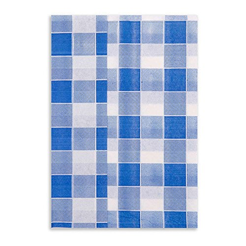 Luxenap 1 Ply Recycled Picnic Print Blue 7x13.5 Inches 7000 count box by Restaurantware