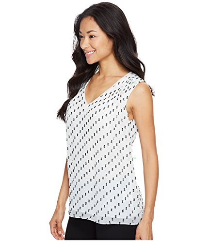 Ellen Tracy Women's Double V Shell, Clip Dot Cream, L