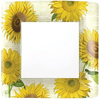 Paper Plates Dinner Size Paper Party Supplies Sunflowers Pack of 16