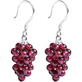 OK-STORE 925 Sterling Silver Handcrafted Natural Garnet Grape Shape Necklace Pendant Charm or S925 Earrings Ear Studs