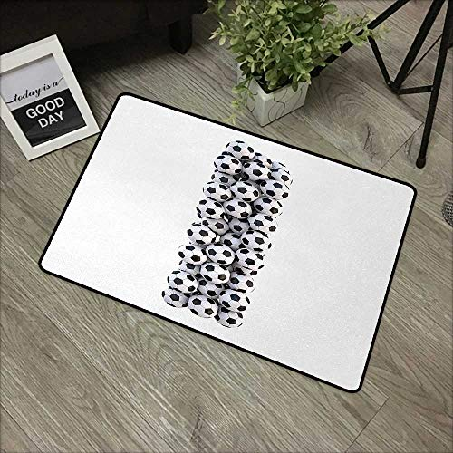 Children's mat W24 x L35 INCH Letter I,Stack of Soccer Balls Vertical Arrangement Sporting Equipment Classic Design,Black and White Natural dye printing to protect your baby's skin Non-slip Door Mat C