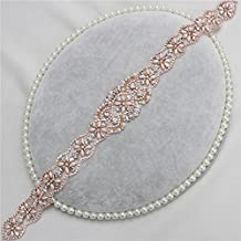 XINFANGXIU Rose Gold Beaded Dress Applique for Rhinestone Bridal Wedding Sash Women Crystal Gown Prom Formal DressBelt by Sewn or Iron on