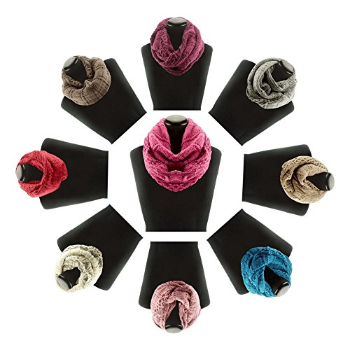 Best 12 Pack Pink Blue Boho Wide Cable Knit Patterned Office Scarves Infinity Scarf Wholesale Bulk Top Cozy Holiday Stocking Stuffer New Themed Gift Idea Under 10 Dollar for Her Nurse Teacher Team for $<!--$84.95-->