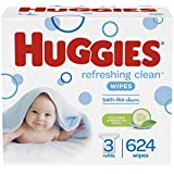 HUGGIES Refreshing Clean Scented Baby Wipes, Hypoallergenic, 3 Refill Packs (624 Total Wipes)