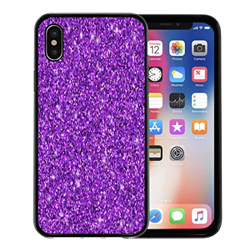 (Semtomn Phone Case for Apple iPhone Xs case,Pink Sequin Purple Violet Shimmer Shine Circle Light for iPhone X Case,Rubber Border Protective Case,Black)