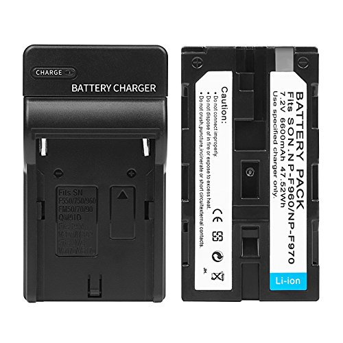 D&F NP-F970 NP-F960 Li-ion Replacement Battery with Recharge Charger for YONGNUO,VILTROX,GIGALUMI,NEEWER Camcorder LED Video Light by D&F