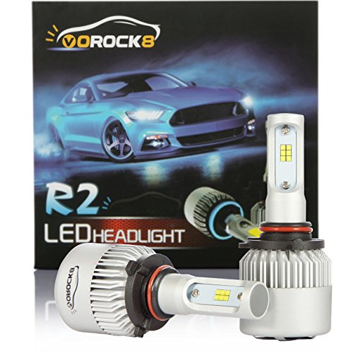 R2 CSP Seoul 9005 8000LM LED Headlight Conversion Kit, High beam headlamp, Low beam headlights, Fog light, HID or Halogen Head light Replacement, 6500K Xenon White, 1 Pair- 1 Year - Kit Light Beam