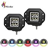 Nicoko 18w Flush mount Led work light with Chasing RGB halo ring for 10 Solid Color Changing with Strobe Flashing over 72 Modes Spotlights IP68 waterproof Free wiring harness 1 year warranty