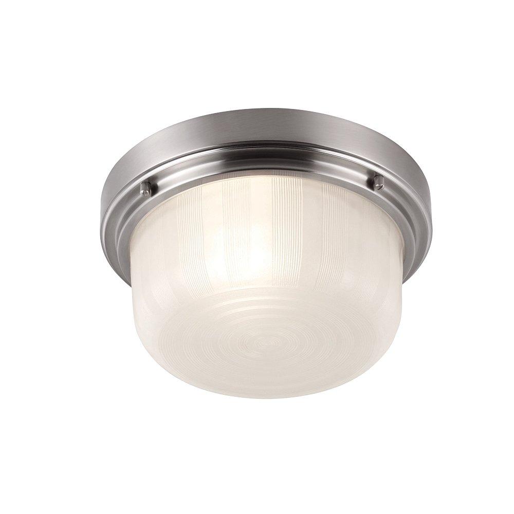 Feiss FM380BS 1-Bulb Flushmount Ceiling Light, Small 11.25 inch Diameter, Brushed Steel