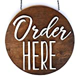 ORDER HERE sign - hanging round wood sign for restaurant cafe coffee shop storefront interior decor