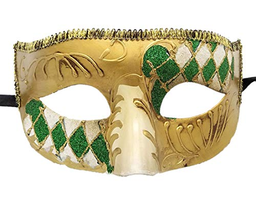 Coolwife Masquerade Masks Venetian Vintage Party Ball Carnival Evening Prom Mardi Gras Mask (A Green) ()
