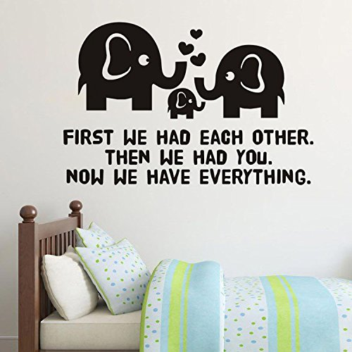 Ferris Store Cute Cartoon Elephant Family Baby Room Wall Decor PVC English Letter Removable Stickers Decals 307Wx224HBlack