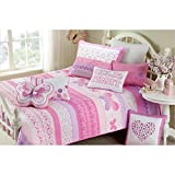 UNK2 3 Piece Kids Pink Butterfly Queen Size Quilt Set, Beautiful Girls Animal Print Polka Dot Heart Shapes Bedding, Pretty Purple White Floral Flowers Horizontal Stripes, Cotton