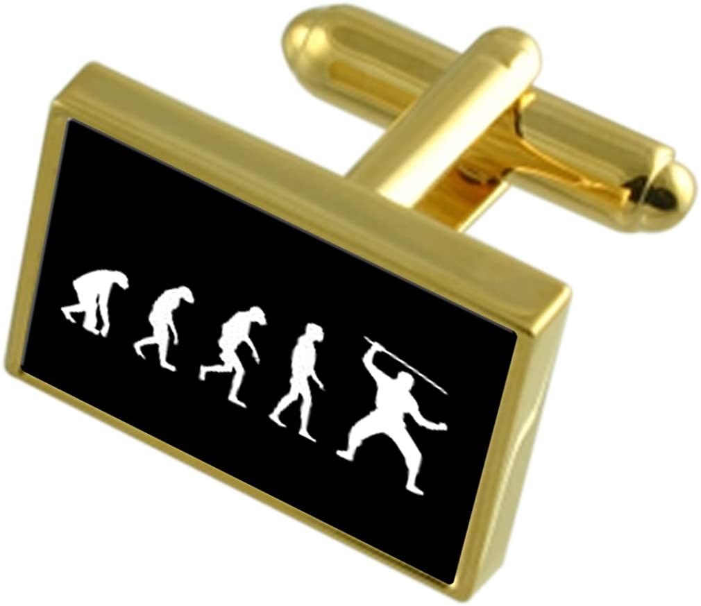 Select Gifts Evolution Ape to Man Ninja Gold-Tone Cufflinks Black Pouch