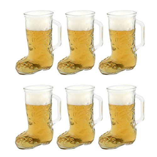 Glass Beer Boot Mug - 12.5 oz - Set of 6 Mugs -