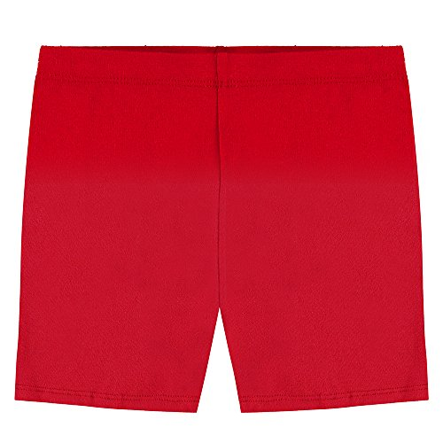 Popular Big Girl's Cotton Bike Shorts - Red - 10 by Popular