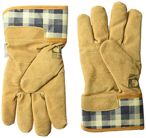 Carhartt Women's WB Waterproof Breathable Suede Work Glove with Safety Cuff, navy plaid, ()
