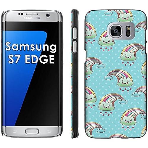 Samsung Galaxy [S7 EDGE] Phone Cover, Kawaii Rainbow- Black Slim Clip-on Phone Case for [Samsung Galaxy [S7 EDGE]] Sales