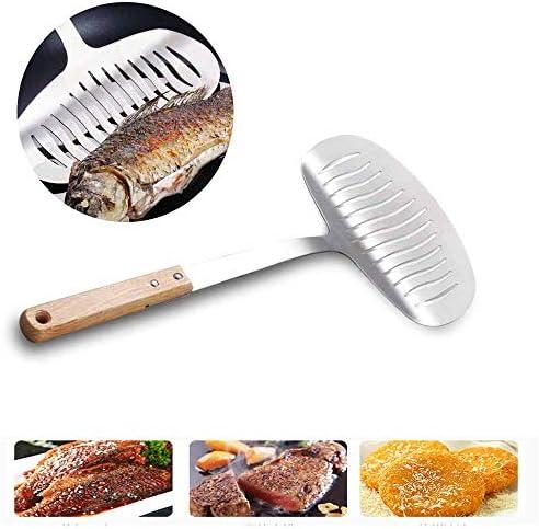 焦げ付き防止の薄いヘラターナー、軽量で丈夫なキッチン魚、柔らかい木製ハンドル、家庭やレストランのステーキ焼き魚に適しています